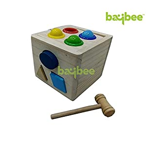 Baybee Premium Wooden Color- Stacking Toyset Wooden Toy/Educational Toy for Children (Box Hammer)