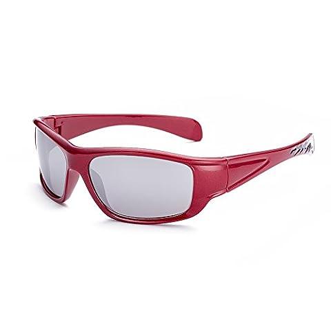 Hmilydyk pour enfants Lunettes de soleil polarisées UV400Sports Style Classique Shades Lunettes de natation pour garçons et filles, Red Frame Silver