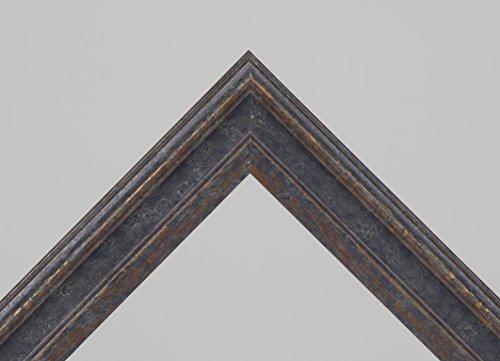 Holzbilderrahmen Monaco I - Blau Braun Barockrahmen Holz 36x48 cm 48x36 cm hier mit entspiegeltem Plexiglas