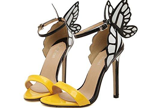 YCMDM Femmes Eté Nouveau Papillon Fleurs Cool Hollow Spell Couleur Avec Talons Hauts Sandales yellow with high 11cm