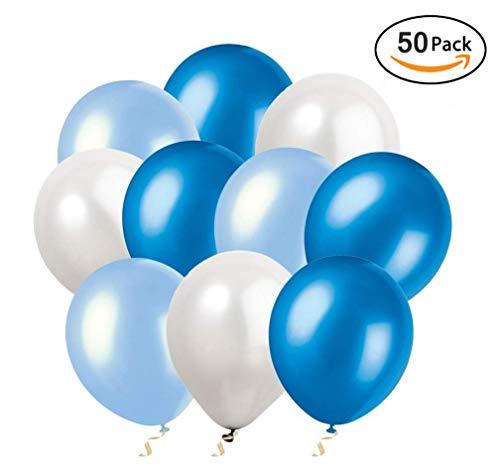 Ohigh 50 Stück Luftballons Blau Weiß Ballons für Baby Shower Junge Kinder Geburtstag Party Deko (ca.30cm) (Yoyo Ballon)