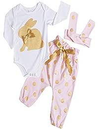 b61e92aea Ropa Bebe NiñA Verano Baby Girl Oro Conejo Imprimir Manga Larga Mono Traje  Traje NiñOs Conejo