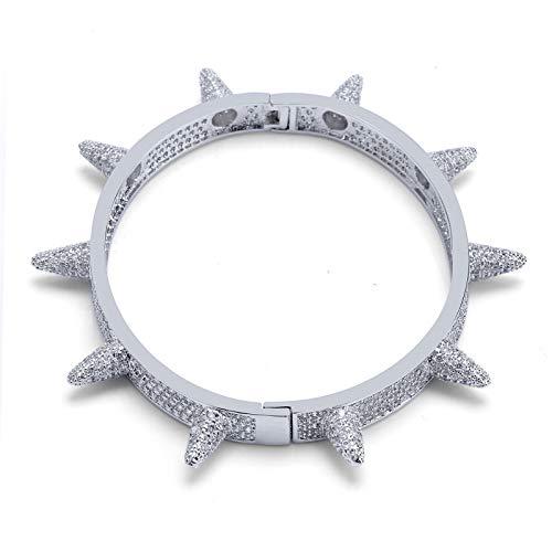 Guojiahao Herren 18K Hip Hop 7mm Italian Curb Cuban Link Chain Armband 6.9 '', Silber