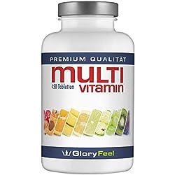 Multivitamin Hochdosiert 450 Tabletten - Der VERGLEICHSSIEGER 2018* - Alle Wertvollen A-Z Vitamine und Mineralstoffe für 15 Monate - Laborgeprüft und Vegan ohne Zusätze hergestellt in Deutschalnd