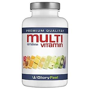 GloryFeel® Multivitamin 450 Tabletten Hochdosiert – Der VERGLEICHSSIEGER 2019* – Alle Wertvollen A-Z Vitamine und Mineralstoffe für 15 Monate  Verpackung kann variieren