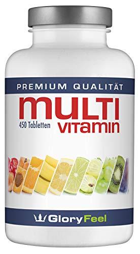 Multivitamin Hochdosiert 450 Tabletten - Der VERGLEICHSSIEGER 2019* - Alle Wertvollen A-Z Vitamine und Mineralstoffe für 15 Monate - Laborgeprüft und Vegan ohne Zusätze hergestellt in Deutschalnd
