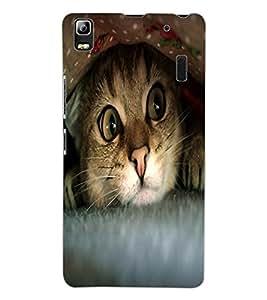ColourCraft Cute Funny Cat Design Back Case Cover for LENOVO A7000 PLUS