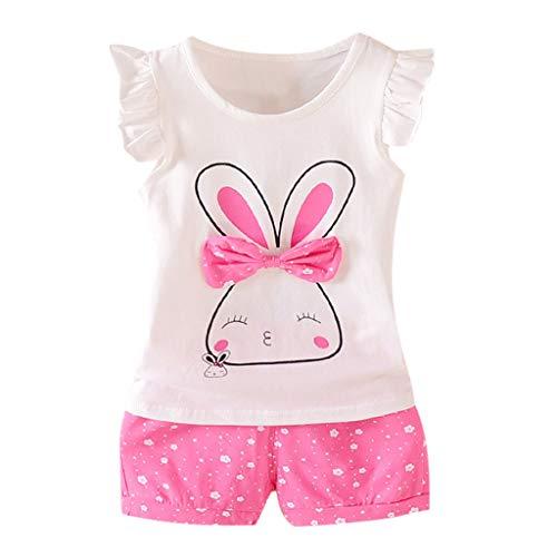 tüm Set Kind Baby Fliegen Ärmel Kaninchen Print Bow Top + Polka Dot Shorts Zweiteilige Kindertagesgeschenk ()