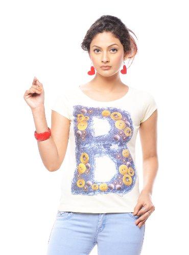 Trendy Girlz Womens Cotton T-Shirt -Beige -X-Large