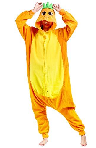 Damen Kostüm Karotte - Jumpsuit Onesie Tier Karton Fasching Halloween Kostüm Lounge Sleepsuit Cosplay Overall Pyjama Schlafanzug Erwachsene Unisex Karotte for Höhe 140-187CM