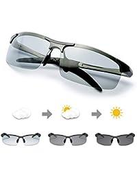 TJUTR Polarisierte Sonnenbrille Herren Photochromatisch Sports für100% UVA UVB Schutz Metallrahmen Leicht