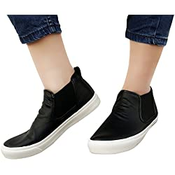 Nimble House ® ™Womens PU Leather Elastic Side Panel Ankle Boots Ladies Wedge Trainers Sneakers Platform Shoes (Size- 5)
