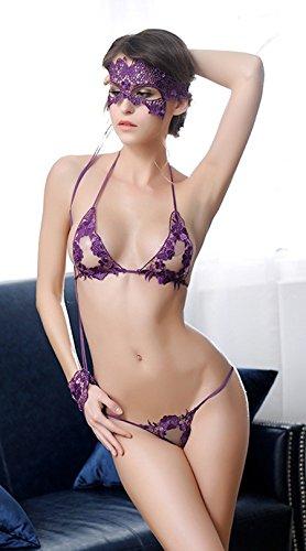 CZIXUN Sexy Unterwäsche Damen Drei-Punkt Babydoll Lingerie Set Violett