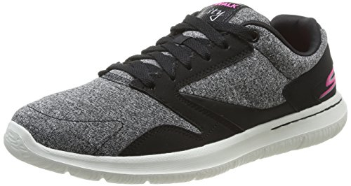 Skechers Go Walk City Uptown, Low-Top Sneaker donna, Nero (Schwarz (BKW)), 37