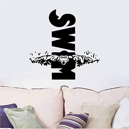 zzlfn3lv Schwimmen Design Wandbild Schwimmen Sport Vinyl Wandtattoo Aufkleber Sport Decor Für Jungen Zimmer Schlafzimmer Wohnheim Wandkunst 56 * 56 cm