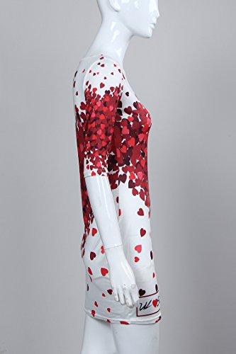 Moollyfox Femmes Sexy Bodycon Mini Robe Courte Slim Manches Courtes Col Rond Blanc
