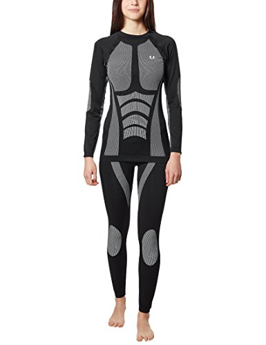Ultrasport Damen seamless Funktions-Ski-/Sportunterwäsche Tide, schwarz, XL