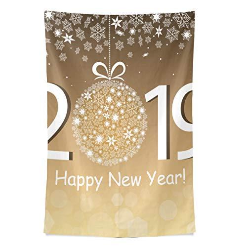 Zemivs 2019 frohes neues Jahr Feier für spaß wandteppich wandbehang cool Post drucken für wohnheim Hause Wohnzimmer Schlafzimmer tagesdecke Picknick bettlaken 80x60 Zoll