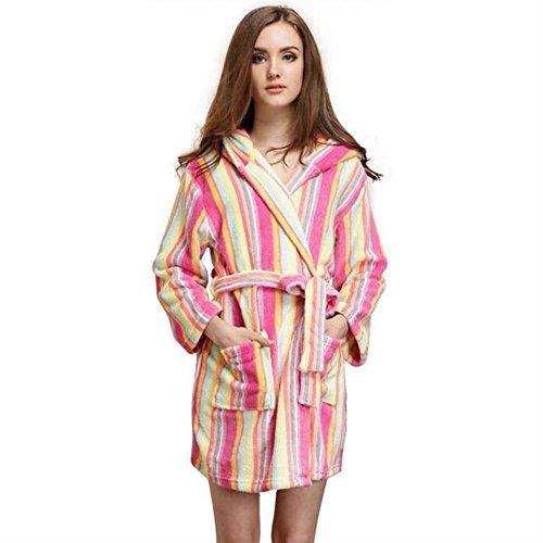 Lytshop regalo per doccia in lino accappatoio ispessito invernale da donna in pile di corallo colorato a righe verticali camicia da notte in pigiama vestaglia (dimensione : l)