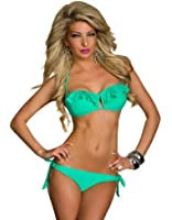 4394 Bandeau-Bikini mit breiten Volants vorne am Oberteil Cup B C