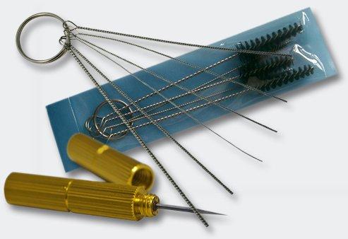 Airbrush Zubehör Set mit Reinigungsbürsten und Düsennadeln Edelstahl Nylon Reinigung