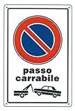 Cartello Plastica Passo Carrabile Cm 20X30 Edilizia Segnaletica Sicurezza