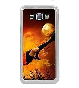 PrintVisa Football Flying Kick High Glossy Metal Designer Back Case Cover for Samsung Galaxy J1 2016 :: Samsung Galaxy J1 2016 Duos :: Samsung Galaxy J1 2016 J120F :: Samsung Galaxy Express 3 J120A :: Samsung Galaxy J1 2016 J120H J120M J120M J120T