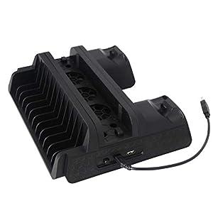 Toyvian Multifunktions-Kühlständer für PS4 oder Ventilator, vertikal, Schwarz