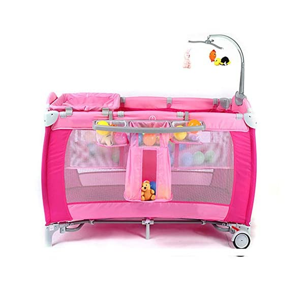 Mr.LQ Crib Portable Folding Baby Bed With Mosquito Net Multi-Functional Children'S Bed,Black,120x76x60cm  [Folded Baby Cot]Due to its folding design, you can take it to anywhere as you like by packing it in the supplied carry bag, and it just takes you a while to fold or unfold it before using. [See-through safety mesh]It features mesh cloth on both sides, this netted areas allow your baby to see out clearly as well as an onlooker to see in to her/him, and it also offers great ventilation for your baby. [Easy to Move] It designed in two wheels and two legs, you can move it around easily without any problems with the help of two wheels, and there is no issue to worry the stability due to the two sturdy legs. 4