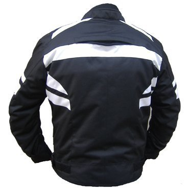 Bikers-Gear-UK-Giacca-Sport-VECTOR-in-cordura-con-protezione-CE-nero-e-Bianco-Taglia-L