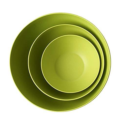 RKY Bol- Bol de salade en fibre de bambou trois pièces bol à fruits bol à vaisselle bol de riz ensemble - 2 couleurs /-/ (Couleur : Green)