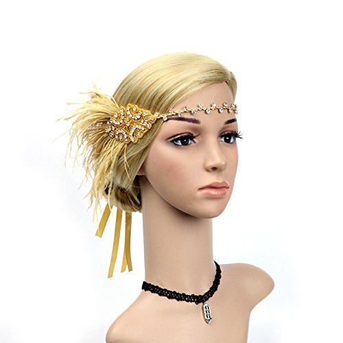 Frcolor Feder Strass Stirnband Flapper Vintage Kopfschmuck für Damen Frauen (Gold)