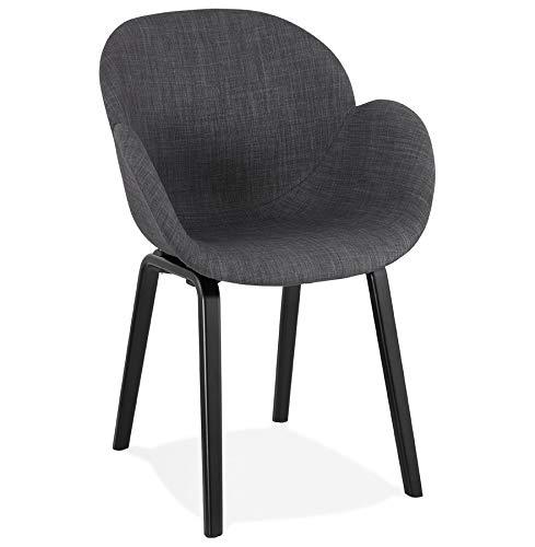 Alterego Chaise Design avec accoudoirs 'Samy' en Tissu Gris et Pieds en Bois Noir