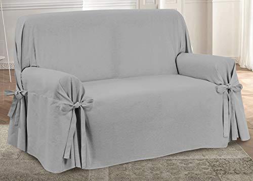 Homelife - copridivano a due posti - salvadivano 2 posti in tinta unita -elegante telo in cotone per copertura divano, protezione da polvere, macchie e usura alta qualità made in italy - grigio