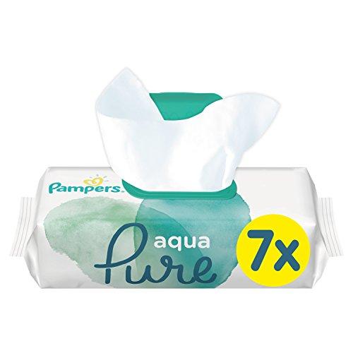 Pampers Aqua Pure Feuchttücher, mit 99{5e9c7bf2e218a34eb20a6c95a7b06389bdfe7df86209da7fcf3e38e68144779c} Purem Wasser, Dermatologisch Getestet, 7er Pack (7 x 48 Stück)