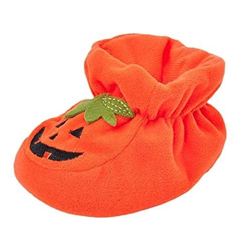 Halloween Kürbis Neugeboren Jungen Mädchen Krippe Schuhe Hirolan Säugling Baby Unisex Weich Sohle, einzig, alleinig Anti-Rutsch Turnschuhe (Orange, 12cm)