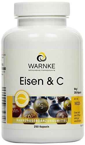 Warnke Gesundheitsprodukte Eisen und C, 14mg Eisen mit Vitamin C zur Eisenresorption, B12 zur Blutbildung und Biotin, 250 Kapseln, Großpackung, 1er Pack (1 x 94 g)