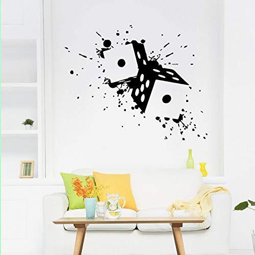 jiushizq Kreatives Design Scroll Würfel Wand Vinyl Aufkleber Dekor Zimmer Casino Craps Geld Spiel Spielen Selbstklebende Wandbild Tapete L 71x57 cm