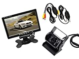 """081 Store - Kit retromarcia wireless Telecamera 18 led per camper, auto, rimorchi Monitor LCD 7"""" con 2 ingressi video"""