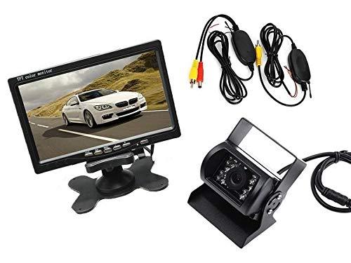 081 Store - Kit retromarcia wireless Telecamera 18 led per camper, auto, rimorchi Monitor LCD 7' con 2 ingressi video