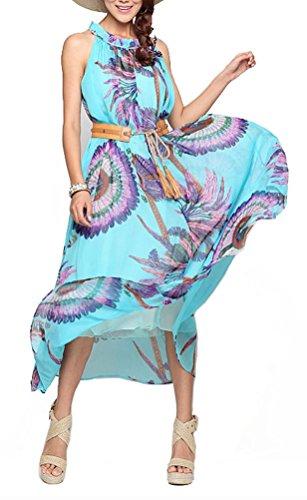 Brinny Elégant Femme Robes Eté Plage Sans Manche Bohême Fleurs Imprimé Long Rock Soirée Cocktail Maxi Plus Grande Taille 40-54 Bleu
