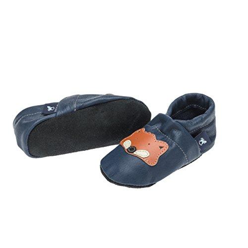 pantau.eu Leder Krabbelschuhe Hausschuhe Lederpuschen Babyschuhe Lauflernschuhe mit Fuchs BLAU_ORANGE_BEIGE_SCHWARZ