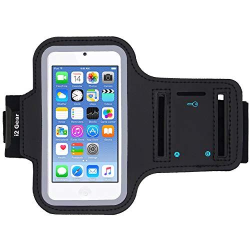i2 Gear Laufarmband für iPod Touch 6th / 5th Generation, reflektierender Rand und Schlüsselhalter, Schwarz