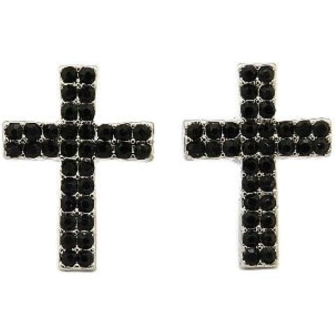 Doppia fila Jet pietra orecchini a lobo a forma di croce in argento
