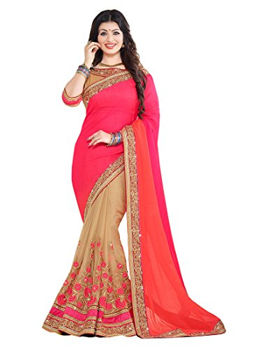Sunshine Fashion Beige Color Chiffon & Banglori silk Fabric Embroidery Work Saree...