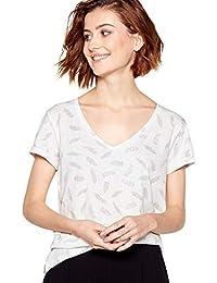 680b6663b091c Principles Womens Ivory Feather Print Cotton T-Shirt