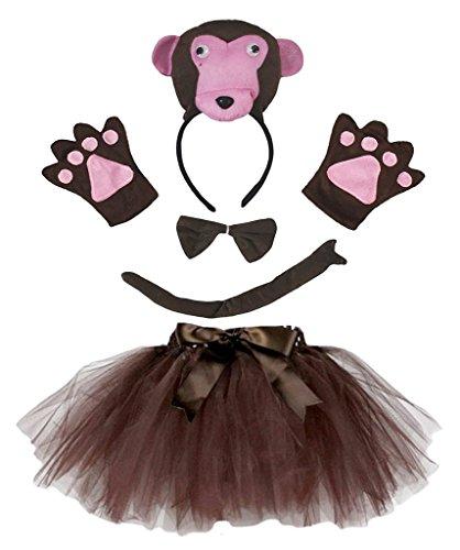 Petitebelle 3D-Stirnband Bowtie Schwanz Handschuhe Tutu 5pc Mädchen-Kostüm Einheitsgröße 3D-Affe