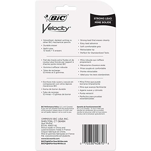 BIC Velocity Mechanical Pencil, Refillable, Thick Point (0.9 mm), 4-Count