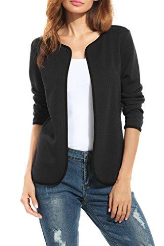 Parabler Damen Herbst Strickjacke Cardigan Blazer Jacke Mantel Pullover Tops (EU 44/ XXL, Schwarz-A)