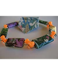 Handmade Paper Bead Bracelet rectangular beads